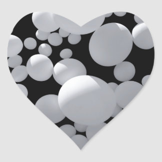 Black space with white  3D balls different sizes Heart Sticker