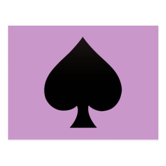 Black Spade - Cards Suit Poker Spear Post Card