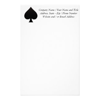 Black Spade - Cards Suit Poker Spear Custom Stationery