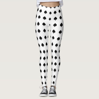 black spade pattern on white leggings