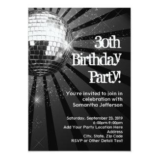 Black Sparkle Disco Ball 30th Birthday Party 13 Cm X 18 Cm Invitation Card
