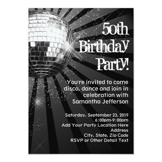 Black Sparkle Disco Ball 50th Birthday Party Card