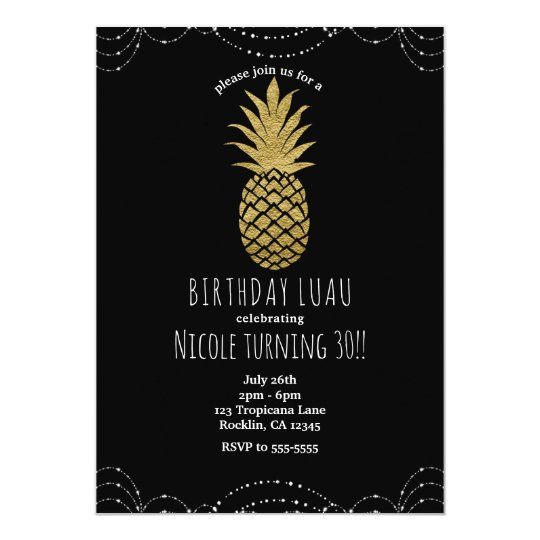Black Sparkle Gold Pineapple Party Invitations