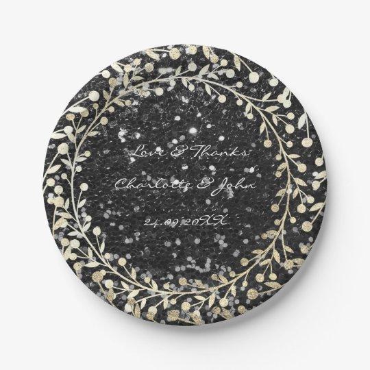 Black Sparkly Glitter Foxier Gold Wreath Garland Paper