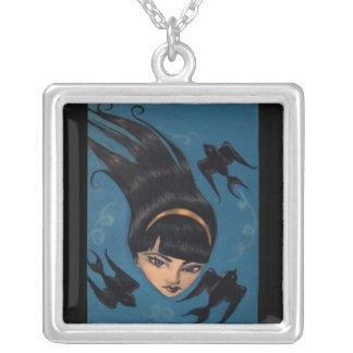 Black Sparrow Square Pendant Necklace
