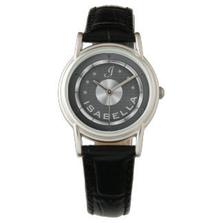 Black speaker background monogrammed watch