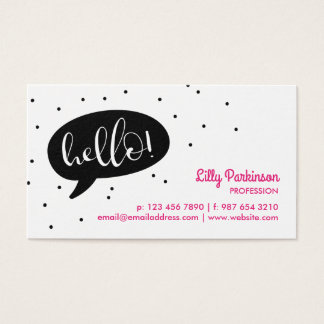 Black Speech Bubble & Confetti Hello! Business Card