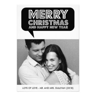 Black Speech Bubble Marquee Christmas Photo Card