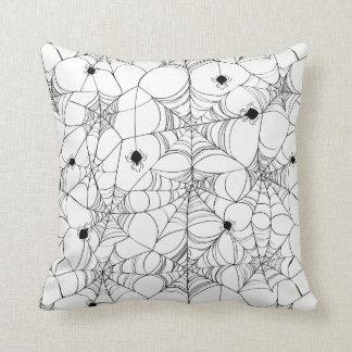 Black Spider Web Halloween Cushion