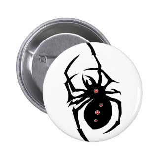 Black spider with red dots button. 6 cm round badge