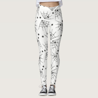 Black Spiders And Spider Webs Halloween Leggings