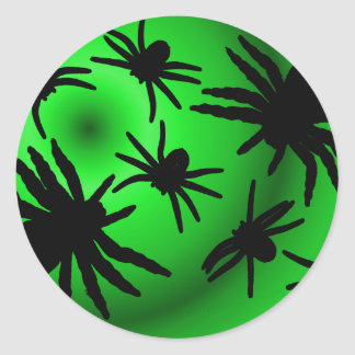 Black Spiders on Green Classic Round Sticker