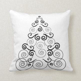 Black, spiral Christmas tree, white throw pillow. Cushion