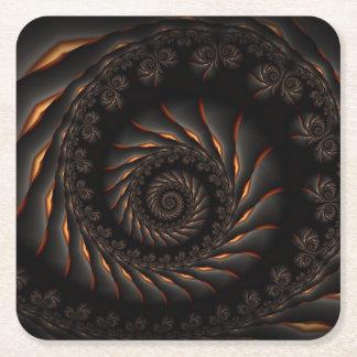 Black Spiral Fractal  Coasters Square Paper Coaster