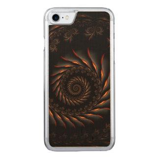 Black Spiral Fractal iPhone 6 Wood Carved iPhone 8/7 Case