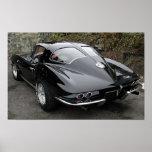 Black Split Window Classic Corvette Poster