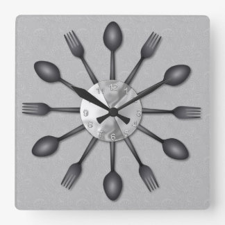 Black Spoons and Forks Wall Clock