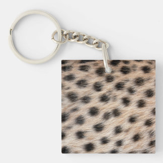 black spotted Cheetah fur or Skin Texture Template Double-Sided Square Acrylic Key Ring