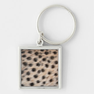 black spotted Cheetah fur or Skin Texture Template Silver-Colored Square Key Ring