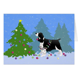 Black Springer Spaniel Decorating Christmas Tree Greeting Card