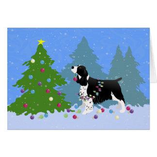 Black Springer Spaniel Decorating Christmas Tree Greeting Card