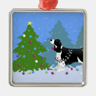 Black Springer Spaniel Decorating Christmas Tree Silver-Colored Square Decoration