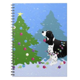 Black Springer Spaniel Decorating Christmas Tree Spiral Note Book