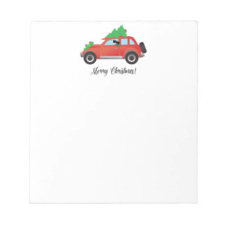 Black Springer Spaniel Dog - Car with Tree on Top Notepad