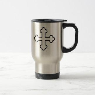 black square apostles cross or budded cross coffee mugs