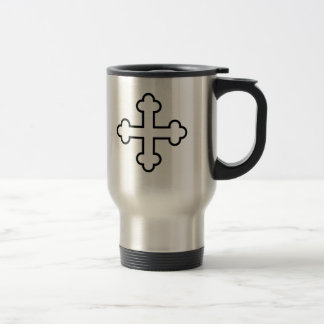 black square apostles cross or budded cross stainless steel travel mug