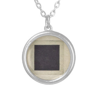 Black Square by Kazimir Malevich Round Pendant Necklace