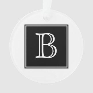 Black Square Monogram Acrylic Ornament