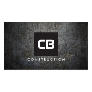 Black Square Monogram Grunge Metal Construction Pack Of Standard Business Cards