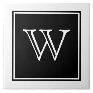 Black Square Monogram Tile