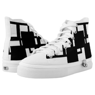Black Square Pattern Zips High Top Shoes Printed Shoes