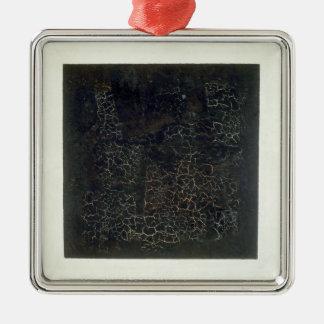 Black Square Silver-Colored Square Decoration