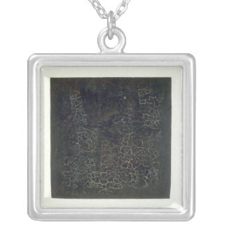 Black Square Silver Plated Necklace