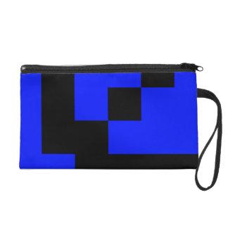 Black Squares on Blue Wristlet Purses
