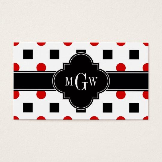 Black Squares Red Dots Black Quatrefoil 3 Monogram Business Card
