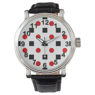 Black Squares Red Polka Dots Pattern White BG Watch