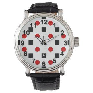 Black Squares Red Polka Dots Pattern White BG Wrist Watch