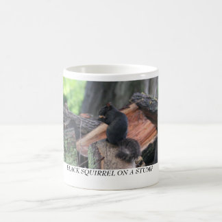 BLACK SQUIRREL ON A STUMP COFFEE MUG