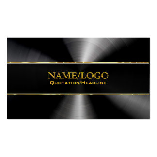 Black Stainless Steel & Gold Accents Template Pack Of Standard Business Cards