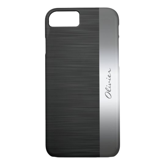 black stainless steel pattern with name iPhone 8/7