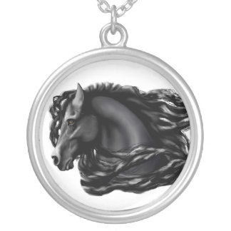 Black Stallion, Friesian Silver Plated Necklace