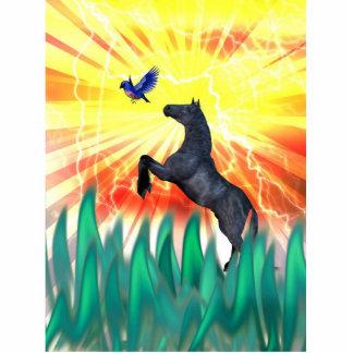 Black stallion horse rearing, flame grass photo sculpture badge