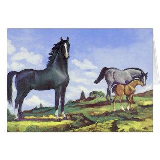 Black Stallion, Mare and Colt Card
