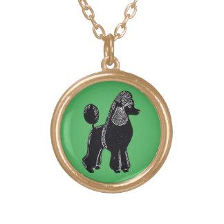 Black Standard Poodle Green Necklace
