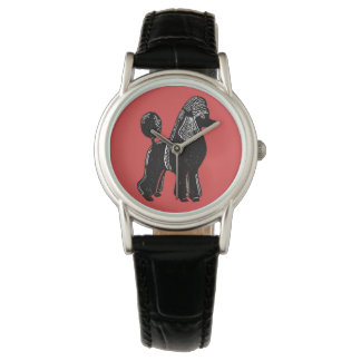 Black Standard Poodle Red Wristwatch