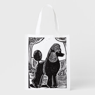 Black Standard Poodle Reusable Grocery Bag